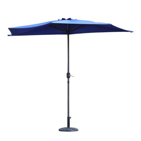 Kinbor Half Round 5 Ribs 10FT Outdoor Aluminum Patio Umbrella Wall Window  Corner Umbrella Crank W