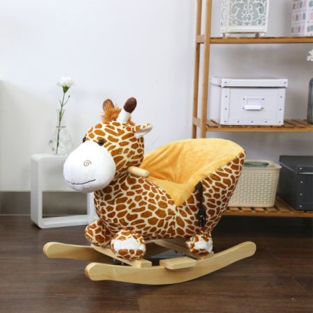 Kinbor Kids Plush Rocking Horse Style Giraffe Theme Chair With Sound