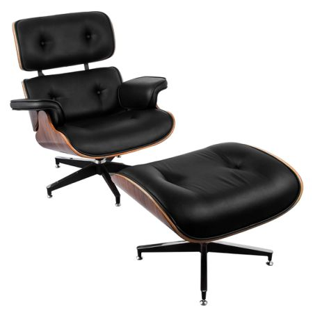 Eames Chair Classic Furniture Breathable Flocked Leather, Curved Plank  Aluminum Feet Leisure Lounge Chair