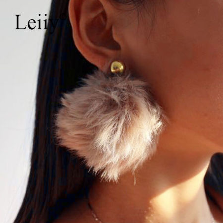 Shop for leiiy 2 color big pom poms ball long drop earrings for leiiy 2 color big pom poms ball long drop earrings for women stylish winter statement chandelier aloadofball Image collections