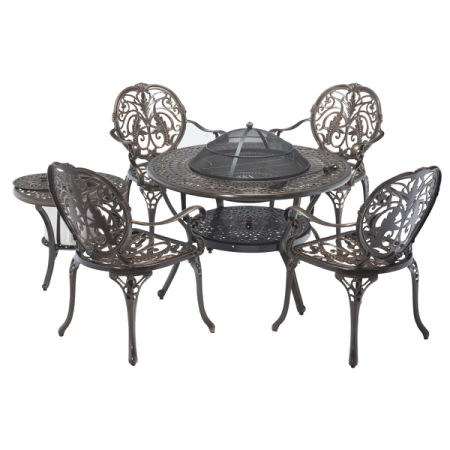 6PC Firepit Table BBQ Cast Aluminum Dining Set W/Ice Bucket Antique Copper  New