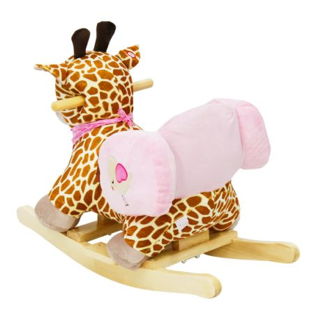 Kinbor Kids Rocking Animal Ride On Rocking Plush Giraffe Theme Chair With  Sound