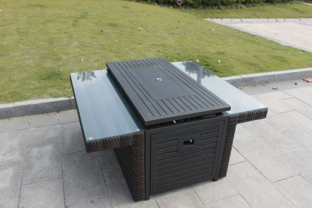 Shop For Higreen Outdoor Fire Pit Table Aluminium Frame Propane Gas - Resin wicker fire pit table