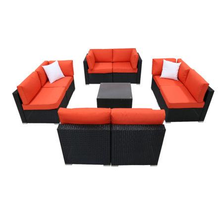 Kinbor 9pcs Outdoor Patio Furniture Sectional Pe Wicker Rattan Sofa Set  Orange