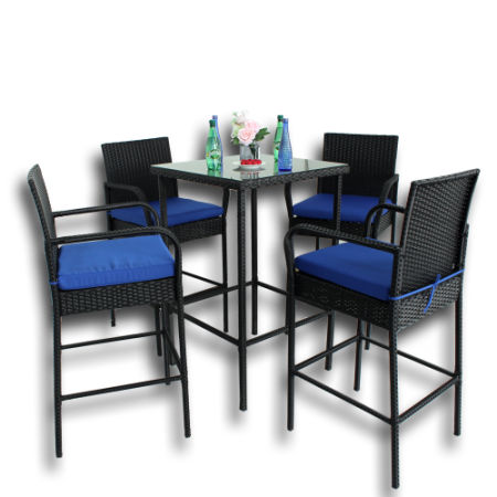 Patio Bar Set 5pcs Black Rattan Table And Stools Outdoor Garden Wicker