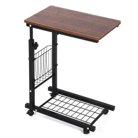 Qwork Sofa Side Table Wheel Mobile Height Adjule Computer Desk With Storage Basket Original Oak