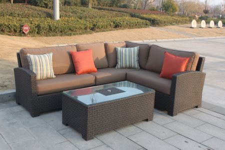 Higreen Outdoor Bellwood 5 Piece Patio Wicker Sectional Furniture Sofa Set  (Canvas Cocoa Brown)