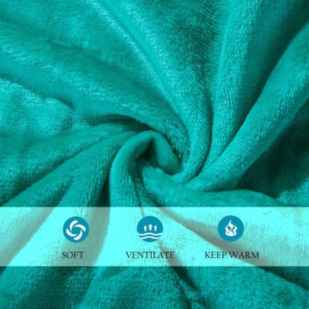 Luxe Manor 50x60 Inch Ultra Soft Flannel Fleece Throw Blanket Lightweight Decorative Fuzzy Plush Microfiber Warm Blanket for Sofas Couches Beds and Office, Teal