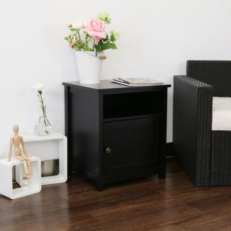 Kinbor Peach Tree Single Door Floor Big Storage Space Bedroom Night Stand  Table Cabinet, Black