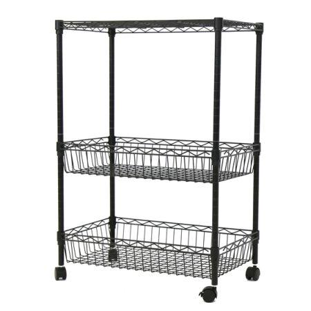 Kinbor 3 Layer Rolling Kitchen Trolley Cart Metal Wire Shelf Adjustable, w/ Baskets