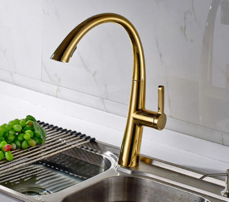 flg hot sale oil rubbed bronze gold kitchen faucet swivel spout sink tap deck mounted pull - Gold Kitchen Faucet