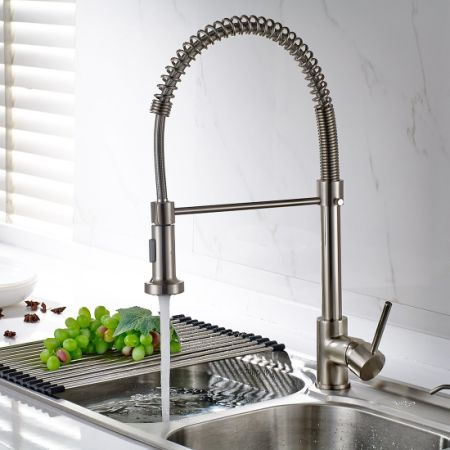 FLG Modern Spring Pull Down Kitchen Sink Faucet With Sprayer, Brushed Nickel