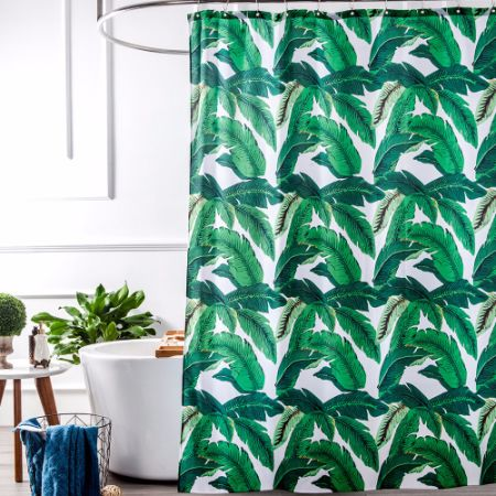 Tropical Plants Banana Leaves Green Fabric Shower Curtain Waterproof And  Mildew Resistant,Washable 72 X