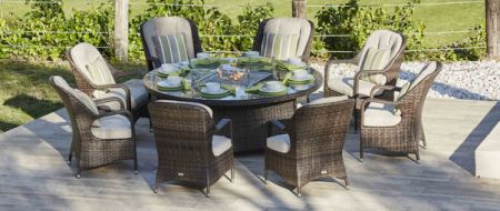 Moda Furnishings 8 Seat Round Gas Fire Pit Dining Table With Eton Chair