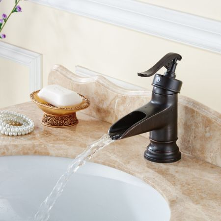 FLG Oil Rubbed Bronze Solid Brass Waterfall Bathroom Sink Faucet