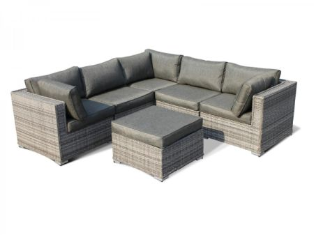 Outdoor Patio Furniture Rattan Wicker Sofa Corner Sectional Sets 6pcs Grey  Cushioned  No Assembly With