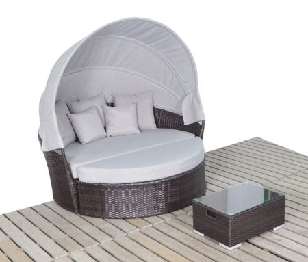Wonderful Yoto Rattan Victoria Outdoor Wicker Rattan Patio Daybed With Canopy