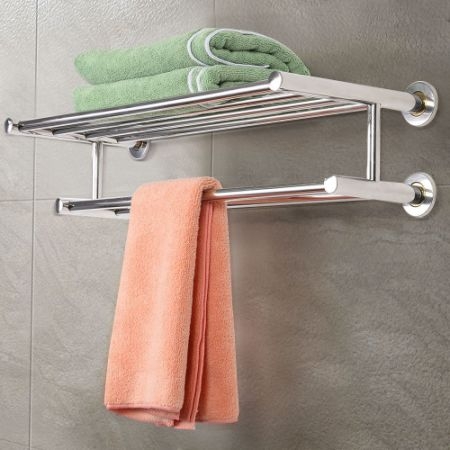 Wall Mounted Bathroom Towel Rack Holder Storage Stainless Steel