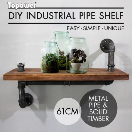 Industrial Wall Shelves Rustic Pipe Storage Shelving Vintage Bookshelf DIY  Decor Bracket