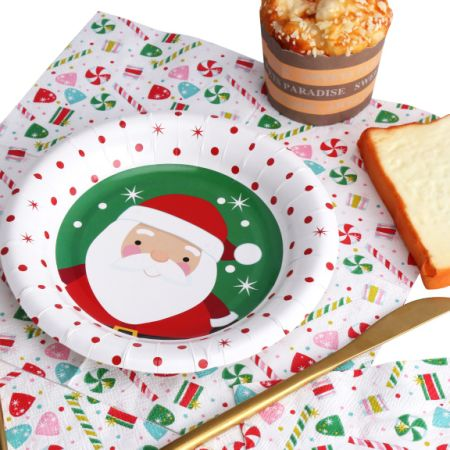 Kinbor 25 Sets 7  Winter Holiday Christmas Theme Santa Claus Party Dinnerware Supplies Disposable Paper  sc 1 st  Crov.com & Shop for Kinbor 25 Sets 7