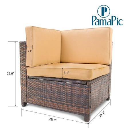 Pamapic 6pcs Outdoor Patio Furniture Set Rattan Wicker Sofa Sectional Garden Rattan Sofa Cushioned Seat With