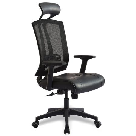 High Back Mesh Executive Chair, Office Desk Chair With PU Seat, Lumbar  Support,