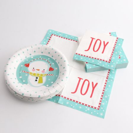 Kinbor 25 Sets 7\  Winter Holiday Christmas Snowman Theme Party Dinnerware Supplies Disposable Paper Plates & Shop for Kinbor 25 Sets 7\