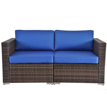 Outime Patio Furniture Sectional 2pcs Corner Sofas Conversation Couch Set  PE Rattan Brown Rattan+Royal