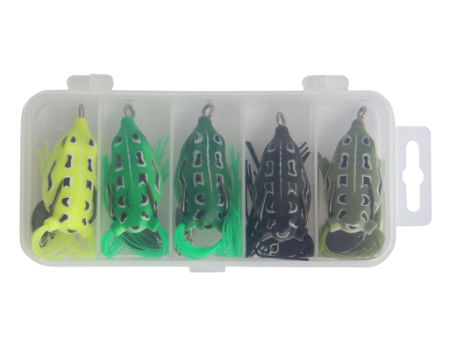 [Free Shipping] 5pcs Lot Topwater Lures Hollow Frog Fishing Tackle Lure Set Soft Baits with Tackle Box for Bass Snakehead Saltwater Freshwater Fishing