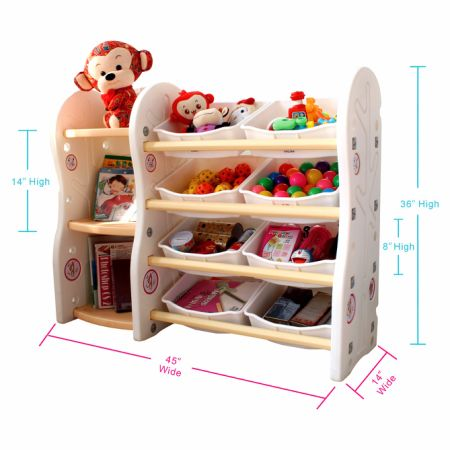 Toy Storage Organizer For Kids Collection Rack Of Children Deluxe Plastic Bookshelf And Basket Frame Sundries