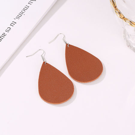 40f2f9e08 Leaf Leather Water Drop PU Eardrop,Handmade Jewelry, Perfect Gift for lady