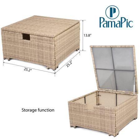 PamaPic 6 PCS Rattan Sectional Furniture Set, Garden Lawn Sofa, Indoor Outdoor  Wicker