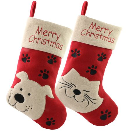 dropshipping 2pcbag christmas stockings cat dog pattern home decoration gifts for kids christmas decor