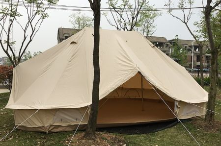 6x4m Cotton Canvas Bell Tent Beige Emperor Bell Tent Outdoor Luxury C&ing Tent for Family Gl&ing : emperor bell tent - memphite.com