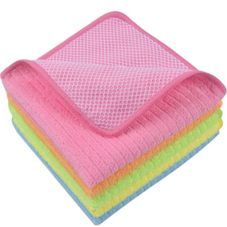 Sinland Microfiber Dish Cloth Kitchen Cloths Cleaning With Poly Scour Side 12 X12