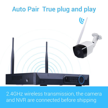 1080P 4CH NVR Kits Wireless Network Home Security Camera System Video Recorder 4PCS 2.0 Megapixel Indoor Outdoor Wifi Bullet IP Surveillance Camera 90ft Night Vision Waterproof Auto Pair