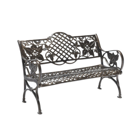 For Outdoor Garden Bench Cast Aluminum Patio Seat Backyard Deck
