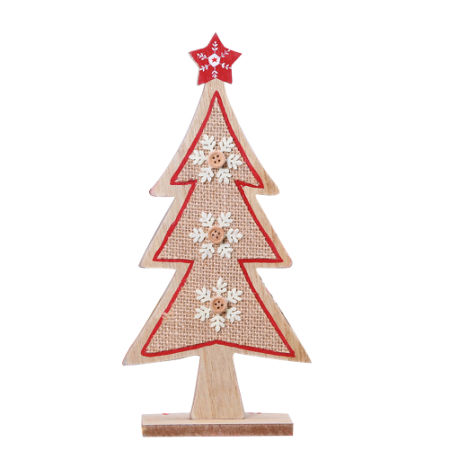 10 inches burlap decorative christmas wooden tree - Burlap Christmas Decorations Wholesale
