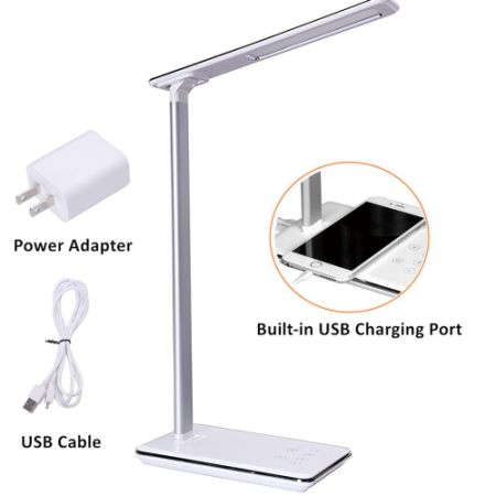 LED Desk Lamp, 5 Level Dimmable Touch Control Table Lamp, Office Light With  USB