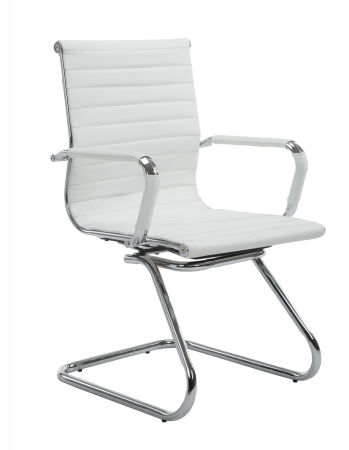 Wahson Mid Back Sled Base Home Office Chair With Armrest White