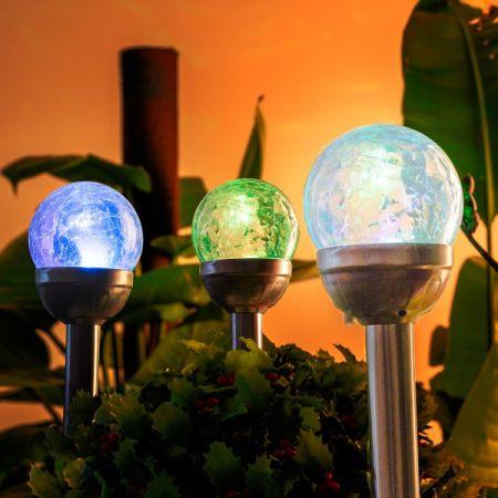 GIGALUMI Solar Lights Outdoor Cracked Glass Ball Dual LED Garden Lights Landscape/Pathway & Shop for GIGALUMI Solar Lights Outdoor Cracked Glass Ball Dual LED ...
