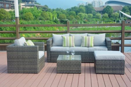 Direct Wicker Outdoor Furniture Sectional Sofa &Table All-Weather Brown  Checkered Rattan with Brown Seat - Shop For Direct Wicker Outdoor Furniture Sectional Sofa &Table All