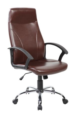 Simple High Back PUu0026PVC Office Task Chair With Chrome Base, Brown, ...