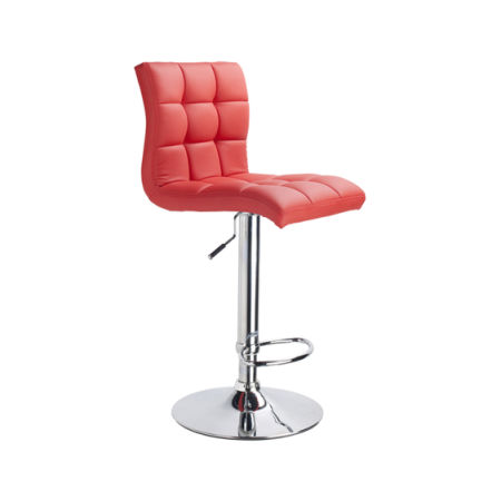 Adjule Rotating Leather Bar Stool Hydraulic Counter Height Square Kitchen Dining Chair With Chrome Base