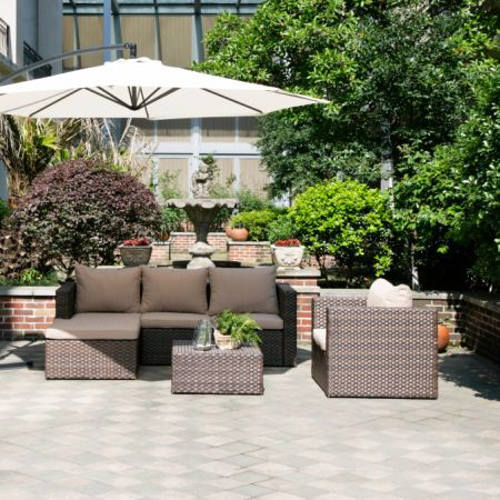 Grand Patio Deluxe Rattan Furniture Sets 4 Pcs Outdoor Sofa Sectional