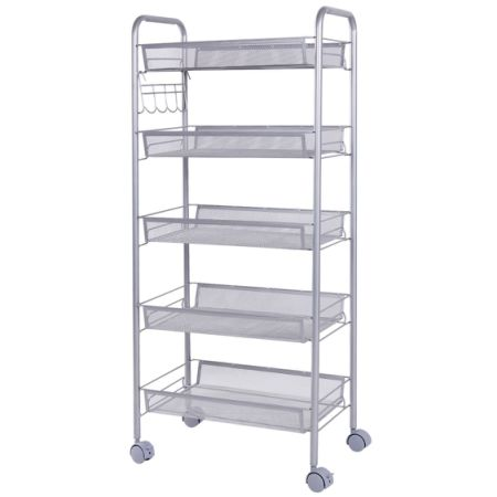 Shop for Lifewit Metal Mesh Storage Rolling Cart with 5 Baskets ...