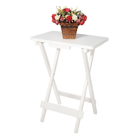 Lifewit Wood TV Tray Snack Table Foldable Patio Garden Holder Tray Stand  White