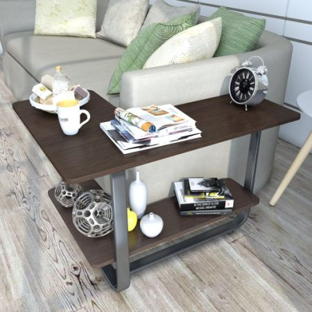 Lifewit L Shape Sofa Table 2 Tier Couch Side End Huge Capacity Espresso
