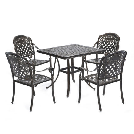 Classical Outdoor Cast Aluminum Dining Set Table Chair Bronze Patio  Furniture