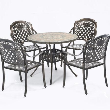 Outdoor Patio Furniture Antique Copper Cast Aluminum Dining Set Marble Top